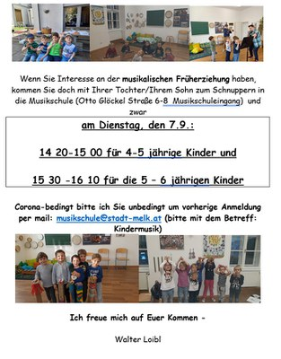 musikalische Früherziehung in LOOSDORF: Schnupperunterricht am Dienstag, 7.9.
